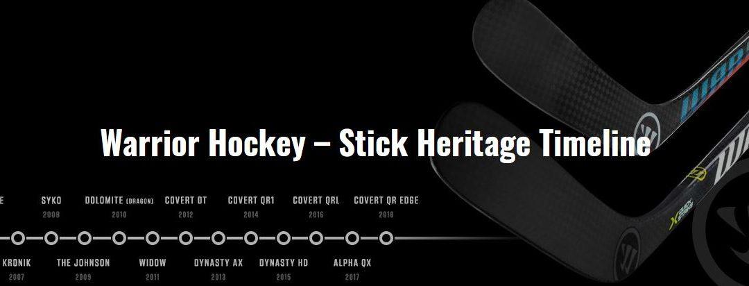 Hokejky Warrior – časová osa kompozitových hokejek